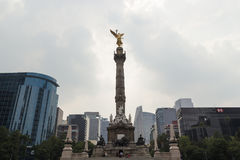 Angel of Independence monument at Mexico City. MEXICO CITY,MEXICO-SEPTEMBER 12,2016: Horizontal view of the angel of independence monument with various Stock Image