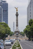 Angel of Independence and Paseo de la Reforma, Mexico City. MEXICO CITY, MEXICO - JULY 21, 2016: The Angel of Independence, built in 1910 to commemorate the Royalty Free Stock Photography