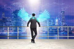 The angel investor concept with businessman with wings Stock Photo