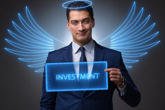 The angel investor concept with businessman with wings Stock Photos
