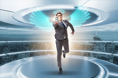 The angel investor concept with businessman with wings Royalty Free Stock Photo