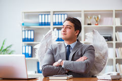 The angel investor concept with businessman and wings Stock Image