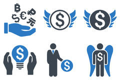 Angel Investor Flat Glyph Icons Stock Afbeelding