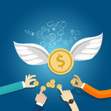 Angel investor money fund management startup coin wings fly Stock Photos