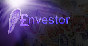Angel Investor pounds sterling. A white angel wing on the shoulder of a pound sign, and nvestor followed by nvestor making the word INVESTOR on a dark money stock illustration
