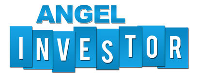 Angel Investor Professional Blue. Angel investor text alphabets written over blue background Royalty Free Stock Photo