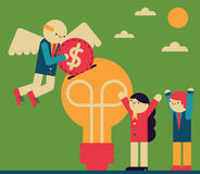 Angel Investor. Wings and all, inserts a coin into a team`s idea Stock Images