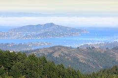Angel Island et Richardson Bay vus de Mt Tamalpais photo stock