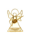 Angel isolated on white background. Souvenir in the form of an angel playing a musical instrument, made of a wire of gold colour and glass Royalty Free Stock Photos
