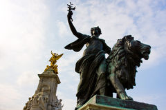 Angel of Justice buckingham palace. Angel of Justice ,one of Victoria Memorial statues at buckingham palace, London, UK Stock Photos
