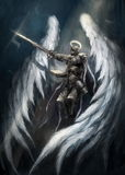 Angel knight. With white white wings vector illustration