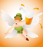 Angel Leprechaun with Beer Stock Image