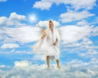 Angel with Light. Angel Guarding Heavenly Gate in Heaven Stock Photo