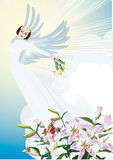 Angel and lily flowers Royalty Free Stock Photo