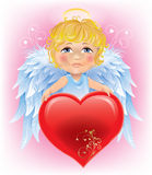 Angel little boy and Valentine's Day heart Royalty Free Stock Image