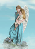 An angel with a little girl. An angel holds a little girl in her arms Royalty Free Stock Image