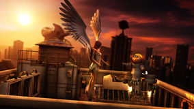Angel And Little Robot In Futuristic City Sunset Stock Photos
