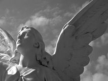 Angel looks to the heavens. Angel in Bay St. Louis looks heavenward in black and white royalty free stock image