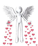 The Angel Of Love. Angel that is spreading love hearts everywhere Royalty Free Stock Photo