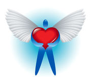 Angel of love. Red heart white wings Stock Illustration