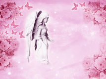 Angel love. A beautiful angel archangel with flower and butterflies in pink color Stock Photo