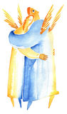 Angel love. Man and woman in embrace on white background Stock Images
