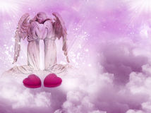 Angel love. Two embracing angels with red hearts over pink sky Stock Photos
