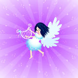 Angel with lyre. Beautiful little angel playing lyre with music notes Royalty Free Stock Photography