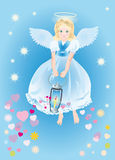 Angel with a magic lamp Royalty Free Stock Photography