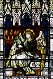 Angel making music in stained glass. A photo of an Angel making music in stained glass royalty free stock images
