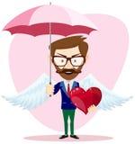 Angel Man com um guarda-chuva voa e coração Foto de Stock Royalty Free