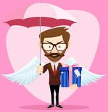 Angel Man with an umbrella Wings and Gift Royalty Free Stock Photos