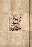 Angel, medieval bas-relief, made of stone Stock Photos