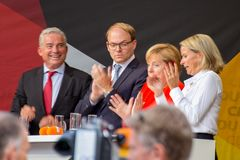 Angel Merkel in election battle 2017 in Heidelberg royalty free stock photos