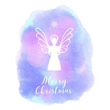 Angel. Merry Christmas. Abstract background watercolor style. Angel. Merry Christmas. Winter. Abstract blured blue background watercolor style Stock Photography