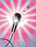 Angel Mic. Microphone on detailed ray and floral background. All elements on separate layers, easily edited Royalty Free Stock Photo