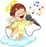 Angel with microphone. Little baby angel singing with microphone on a cloud Royalty Free Stock Photos