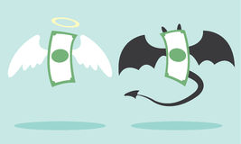 Angel money and devil money Stock Image