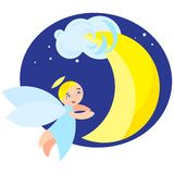 Angel and moon Royalty Free Stock Photography
