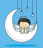 Angel on a Moon. Nice and funny greeting card Stock Photos