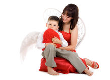 Angel mother with young angel child Royalty Free Stock Photo