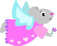 Angel Mouse with Flower. Here is a cute gray Angel Mouse wearing a heart pattern dress, and holding a purple flower Stock Photography