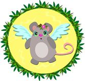 Angel Mouse in a Tropical Frame Stock Images