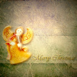 Angel musician Christmas greeting card Royalty Free Stock Photos