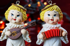 Angel Musicians Christmas Miniatures Stock Photos