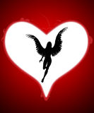 Angel Of My Heart. An angel within a large love heart for valentines day Royalty Free Stock Photo