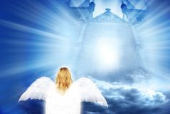 Angel with mystical gate. White angel near mystical gate with rays of light Royalty Free Stock Photography