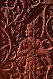 Angel in native Thai style wood carving Stock Photo