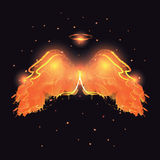 Angel nimbus and wings on black background. Vector illustration Royalty Free Stock Photo