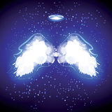 Angel nimbus and wings on black background. Vector illustration Stock Photos